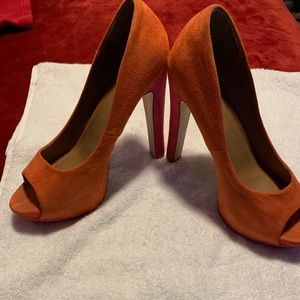 Orange and Pink Suede Peep Toe Pumps